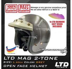 LTD HELMET MAG GREY + SOFT VISOR FV-13 IRIDIUM RAINBOW