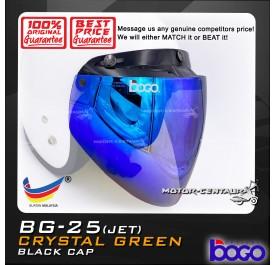 BOGO VISOR BG-25(JET) CRYSTAL GREEN (BLUE), BLACK-CAP
