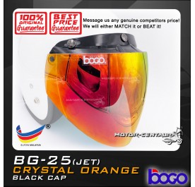 BOGO VISOR BG-25(JET) CRYSTAL ORANGE (RED), BLACK-CAP