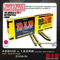 DID RACING CHAIN 428HD X 122RB GOLD-GOLD JAPAN