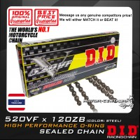 DID HIGH PERFORMANCE O-RING SEALED CHAIN 520VF X 120ZB STEEL THAILAND
