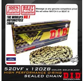 DID HIGH PERFORMANCE O-RING SEALED CHAIN 520VF X 120ZB GOLD-BLACK THAILAND