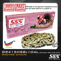 SSS RACING CHAIN GS415HSB X 104L GOLD PLATED (OUTER LAYER ONLY)