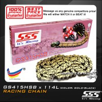 SSS RACING CHAIN GS415HSB X 114L GOLD PLATED (OUTER LAYER ONLY)