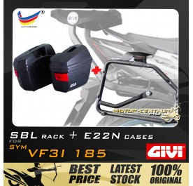 GIVI E22N SIDE CASES + GIVI SYM VF3I 185 SBL SIDEBAG HOLDER