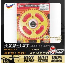 STT REAR SPROCKET (SR3-11-42T) RFS150I 428-42T GOLD