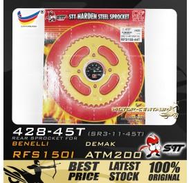 STT REAR SPROCKET (SR3-11-45T) RFS150I 428-45T GOLD