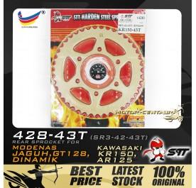 STT REAR SPROCKET (SR3-42-43T) GT128 428-43T GOLD