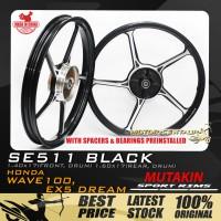MUTAKIN SPORT RIMS W/BEARINGS SE511 1.40X17 (F) 1.60X17(R) WAVE100 / DREAM BLACK