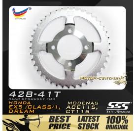 SSS REAR SPROCKET STEEL EX5 428-41T SILVER