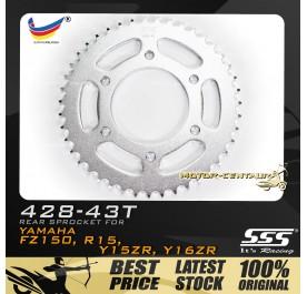 SSS REAR SPROCKET STEEL FZ150 428-43T SILVER