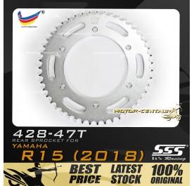 SSS REAR SPROCKET STEEL FZ150(R15) 428-47T SILVER