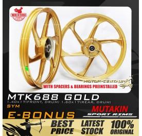 MUTAKIN SPORT RIMS W/BEARINGS MTK688 1.40X17 (F) 1.60X17(R) E-BONUS GOLD