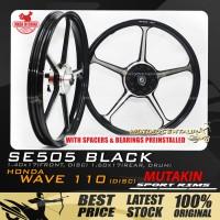 MUTAKIN SPORT RIMS W/BEARINGS SE505 1.40X17 (F) 1.60X17(R) WAVE110 BLACK