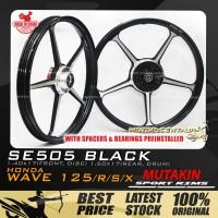 MUTAKIN SPORT RIMS W/BEARINGS SE505 1.40X17 (F) 1.60X17(R) WAVE125 BLACK