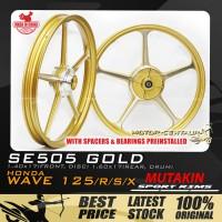 MUTAKIN SPORT RIMS W/BEARINGS SE505 1.40X17 (F) 1.60X17(R) WAVE125 GOLD
