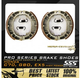SSS FRONT + REAR PRO SERIES DRUM BRAKES SHOES FOR HONDA EX5 HIGH POWER, GBO, C70