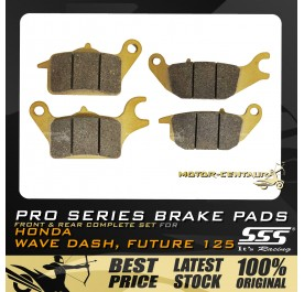 SSS FRONT + REAR PRO SERIES DISC BRAKE PADS FOR HONDA WAVE DASH, FUTURE