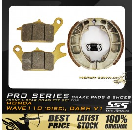 SSS PRO SERIES FRONT DISC BRAKE PADS + REAR BRAKE SHOES FOR FOR HONDA WAVE DASH