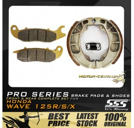 SSS PRO SERIES FRONT DISC BRAKE PADS + REAR BRAKE SHOES FOR FOR HONDA WAVE 125