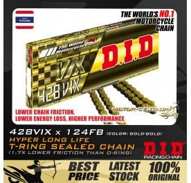 DID T-RING SEALED CHAIN 428VIX X 124RB GOLD-GOLD THAILAND
