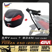 GIVI B34N TOP CASE +  GIVI HONDA FORZA 250 (2021) SRV SPECIAL RACK