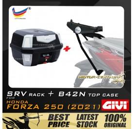 GIVI B42N TOP CASE +  GIVI HONDA FORZA 250 (2021) SRV SPECIAL RACK